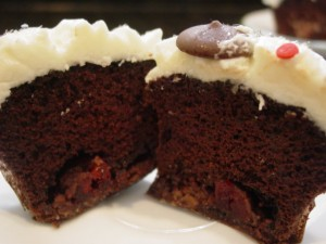 Chocolate Cupacke With Chocolate Covered Cherry Filling