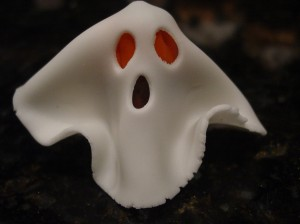 fondant ghost sheet draped over ghost body candy mold