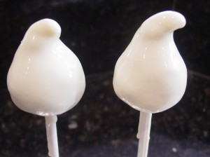 ghost cake pops covered in white chocolate