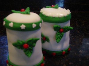 Tall Christmas Cupcake with Holly Leaf