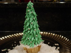 Christmas Tree Cupcake with Waffle Cone