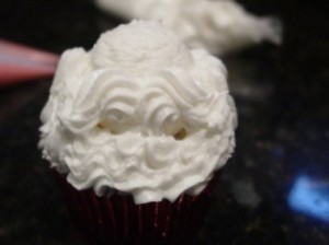 Santa Cupcake Mustache and Beard Figured Piped