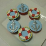 Nautical Cupcakes With Life Savers and Anchors