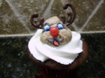 Reindeer cupcake figure piped with chocolate antlers