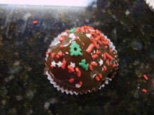 Maraschino Cherry Cake Bomb Ball with Christmas Sprinkles