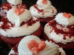 Red Velvet Cupcakes With Hearts Piped On Top