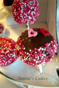 Cake pops with sprinkles for Valentines Day