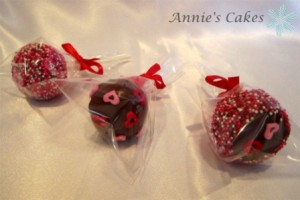 Valentine cake Pops Wrapped in Clear Wrap