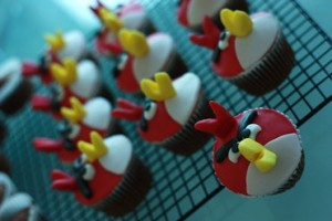 Set of Angry Birds Cupcakes on Baking Sheet