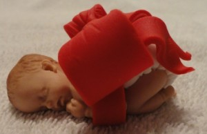 Fondant Baby Molded Cupcake Topper with Big Red Bow!